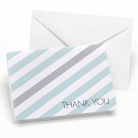 Aqua Blue & Slate Gray Striped Thank You Cards (Set of 50)