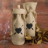 Heart & Arrows Burlap Wine Bag