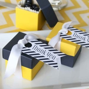 Navy Stripe Thank You Favor Cards (Set of 25) image