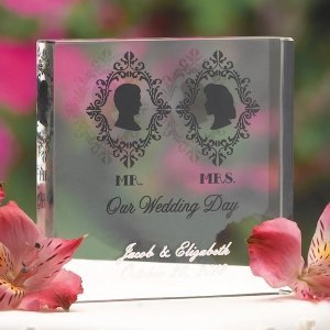 Silhouette Acrylic Square Wedding Cake Topper image