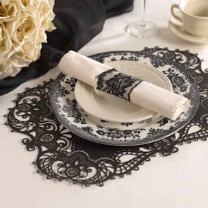 Black Laser Cut Paper Place Mats (Set of 12) image