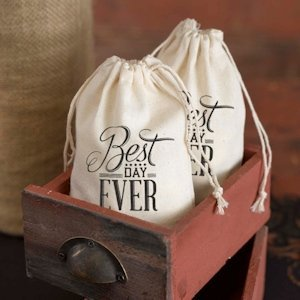 Best Day Ever Cotton Wedding Favor Bags