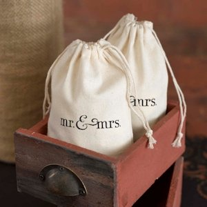 Mr & Mrs Design Cotton Wedding Favor Bags image