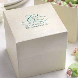 wedding cake boxes personalized ivory personalized cake or cupcake favor boxes set of 25 22068