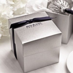 Silver Shimmer Wedding Favor Cake Boxes (Set of 25) image