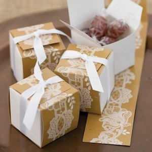 Lace-Wrap Rustic Wedding Favor Boxes (Set of 25) image