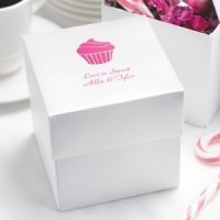 White Shimmer Personalized Cupcake Boxes (Set of 25)