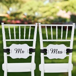 Mr. & Mrs. Signs for Wedding Chairs (Scalloped Design) image