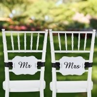 Mr. & Mrs. Signs for Wedding Chairs (Scalloped Design)
