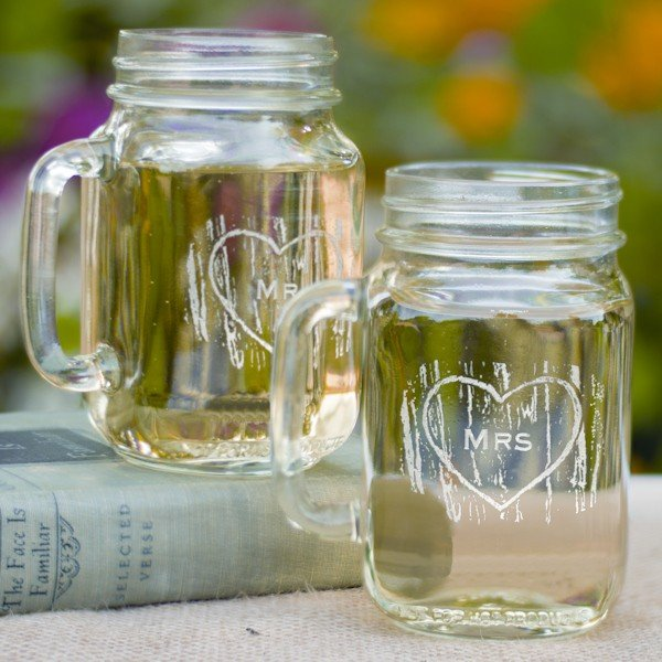 Mr and Mrs Rustic Wedding Toasting Glasses (Mason Jars)