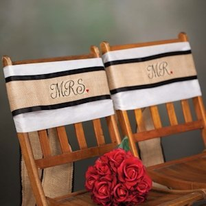 Mr and Mrs Burlap Wedding Chair Sashes image