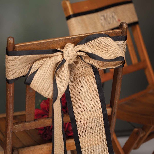 Mr And Mrs Burlap Wedding Chair Sashes Wedding Favors