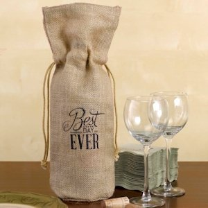 Best Day Ever Burlap Wine Bag image