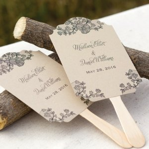 Personalized Wedding Fans - Lace Baroque (Set of 48) image
