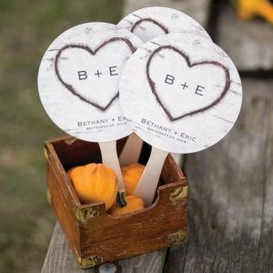 Personalized Rustic Heart Fan Wedding Favors (Set of 48) image