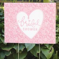 Pink Floral Bridal Shower Yard Sign
