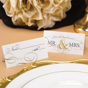 Golden Elegance Mr. & Mrs. Place Cards (Set of 25) image