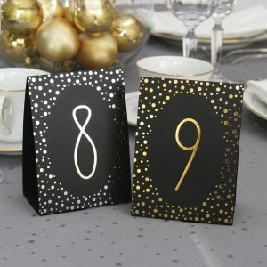 Polka Dot Table Number Tents - Silver or Gold Foil image