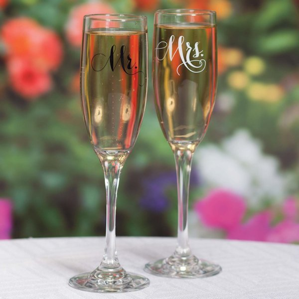 elegant mr and mrs toasting flutes set