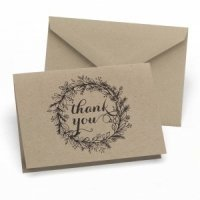 Rustic Kraft Thank You Note Cards (Set of 50)