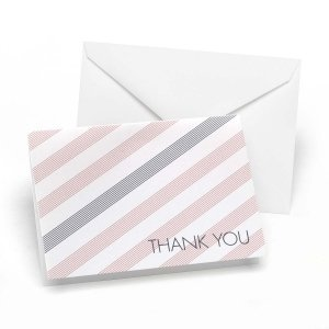 Pink & Gray Striped Thank You Cards (Set of 50) image