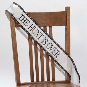 The Hunt is Over Brown Camo Bachelorette Party Sash image