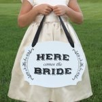 Two-Sided Here Comes the Bride Wedding Sign