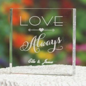 Love Always Acrylic Wedding Cake Top image