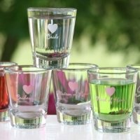 Heart Wedding Party Shot Glasses (4 Designs)