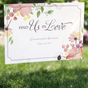 Floral Forever Personalized Yard Sign image