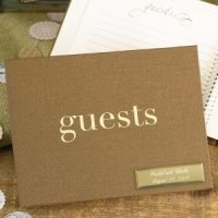 Golden Linen Guest Book