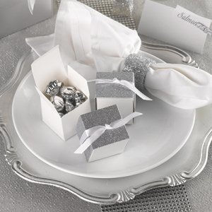 Silver Gliter Wrap Favor Box (Set of 25) image