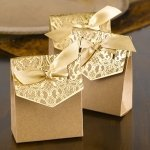 Naturally Vintage Gold Tent Favor Boxes (Set of 25)