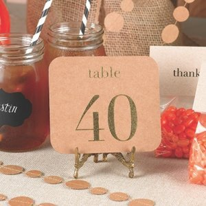 Kraft Table Number Cards in Gold or Silver image
