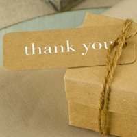 Kraft Thank You Tags in Gold or Silver (Set of 25)