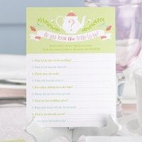 Tea Time Bridal Shower Game Card