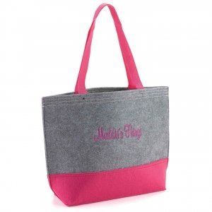 Personalized Gray & Fuchsia Felt Tote Bag image