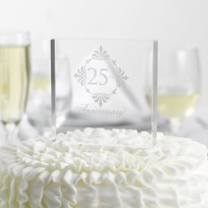 Silver Anniversary Cake Top image