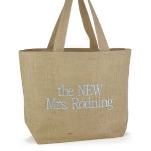 Custom Burlap Beach Bag image