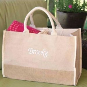 Custom Natural Jute Personalized Large Tote Bag