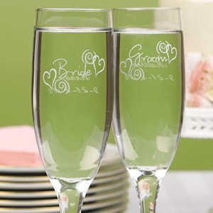 Swirl Heart Bride & Groom Champagne Glasses image