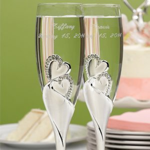 Sparkling Hearts Toasting Flutes image