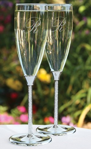 Glittering Beads Unique Wedding Toasting Flutes image