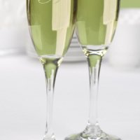 Etched Champagne Glasses with Two Sided Monogram