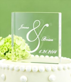 Personalized Ampersand Acrylic Wedding Cake Top image