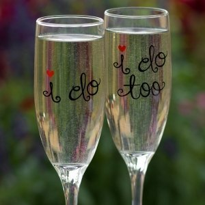 'I Do' Wedding Toasting Flutes image