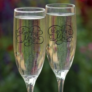 I'm His Mrs. and I'm Her Mr. Wedding Toasting Flutes image