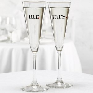 Mr and Mrs Champagne Glasses - Trumpet Style image