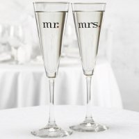Mr and Mrs Champagne Glasses - Trumpet Style