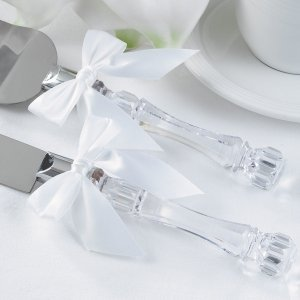 Acrylic Knife & Cake Server Set with Bows image